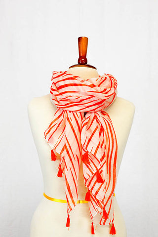 Iris Striped Tassel Scarf Orange