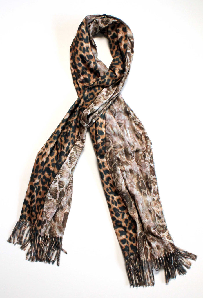Isabel Leopard Snake Double Sided Scarf