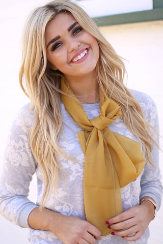 Jane Solid Colored Neck Scarf Gold With Model