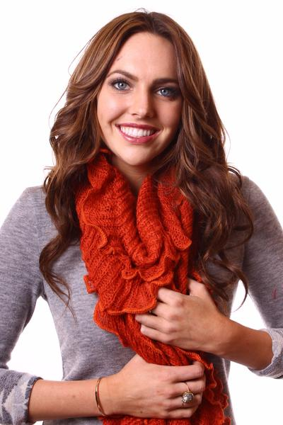 Jenny Neck Scarf Rust With Model