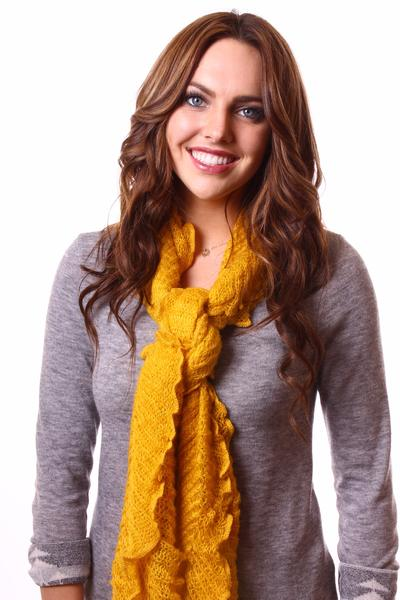 Jenny Neck Scarf Yellow With Model
