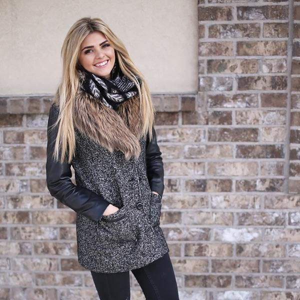 Jessica Leaf Infinity Scarf Black With Model