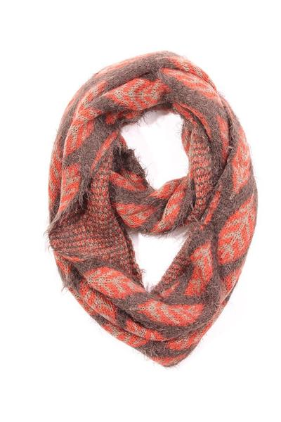 Jessica Leaf Infinity Scarf Brown