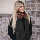 Jessica Leaf Infinity Scarf Brown With Model