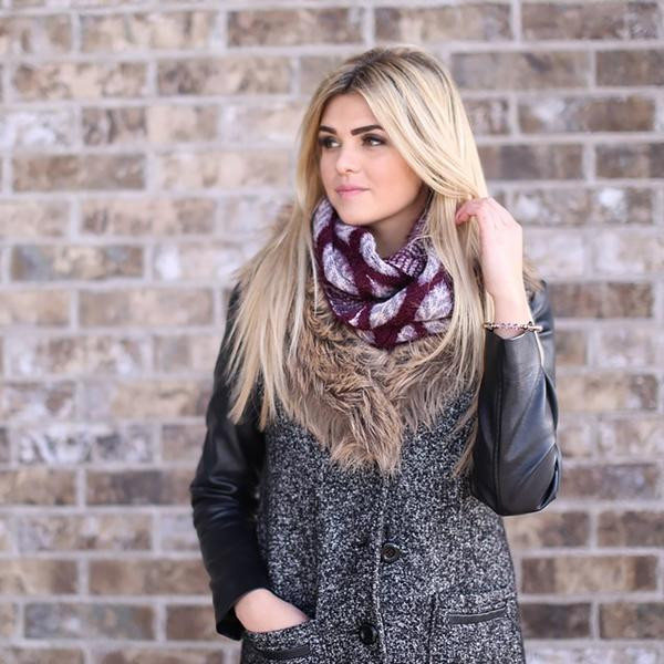 Jessica Leaf Infinity Scarf Burgundy With Model