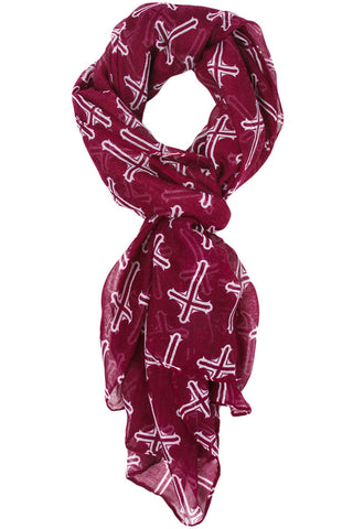 Julianne Cross Scarf Burgundy Red
