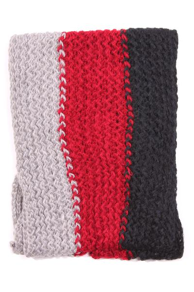 Kassy Striped Knit Infinity Scarf Grey / Red / Black