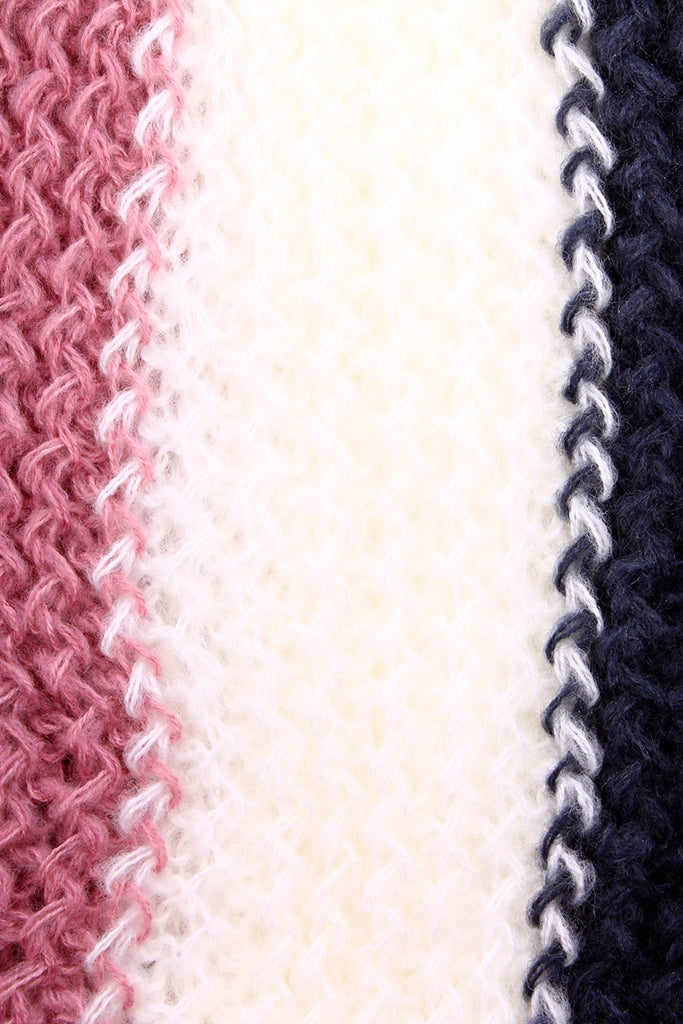 Kassy Striped Knit Infinity Scarf Pink / White / Black