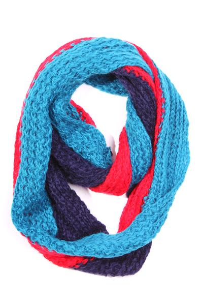 Kassy Striped Knit Infinity Scarf Teal / Red / Navy