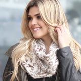 Kelly Soft Finge Infinity Scarf Ivory With Model