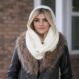 Kendall Hooded Scarf Ivory With Model