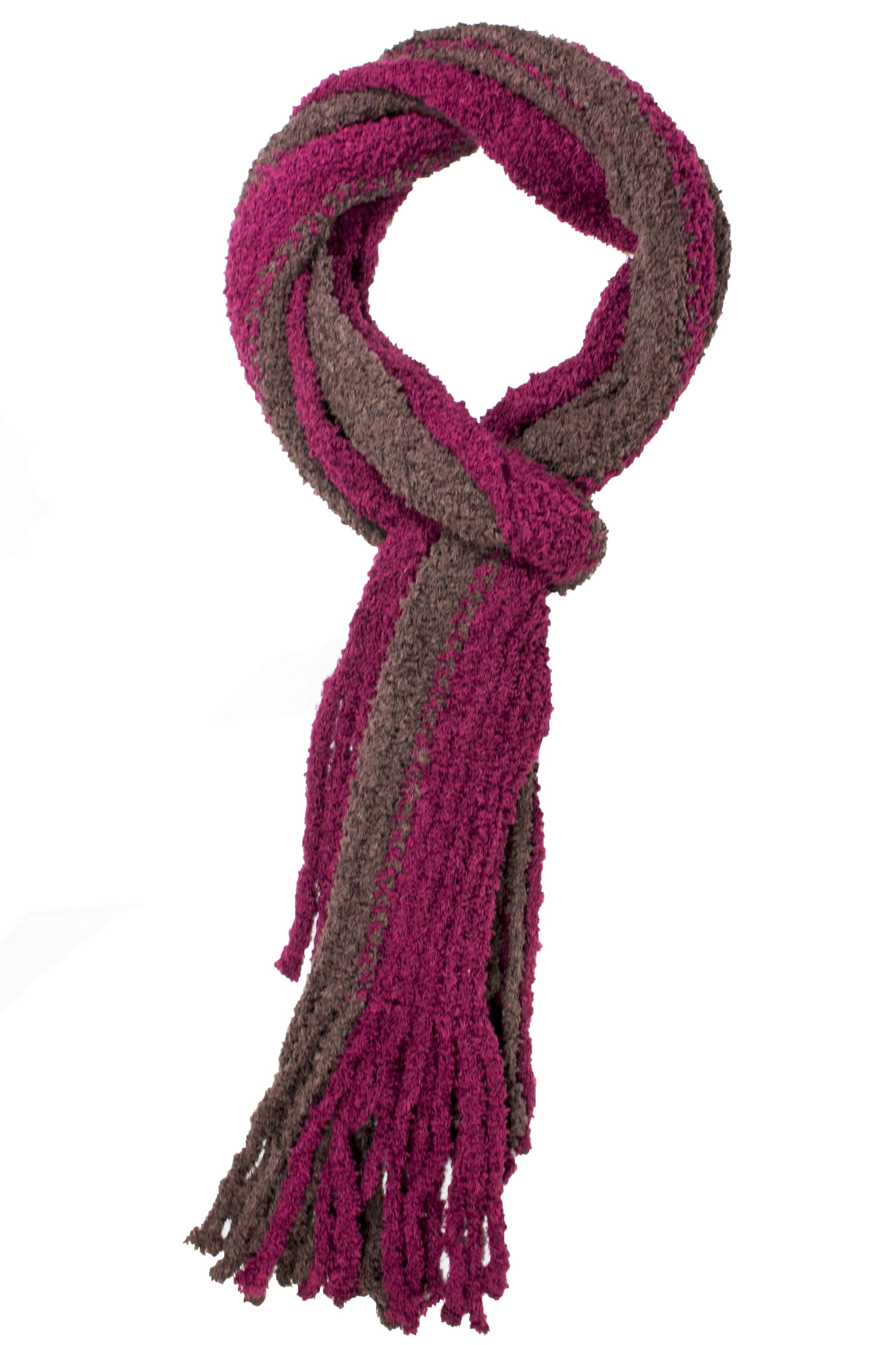 Kimberly Striped Fringe Neck Scarf Burgundy Brown