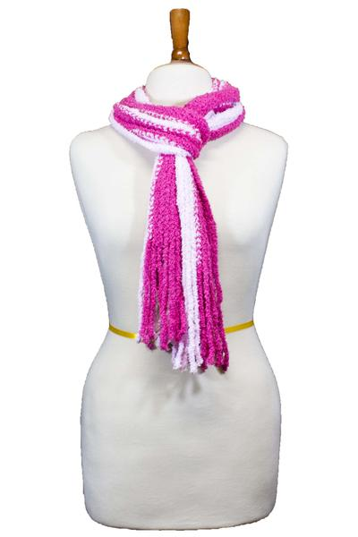 Kimberly Striped Fringe Neck Scarf Pink