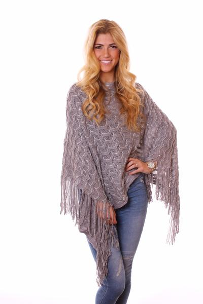 Kyra Glimmer Poncho Grey With Model