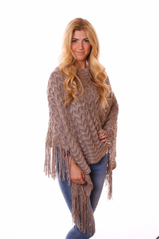 Kyra Glimmer Poncho Tan With Model