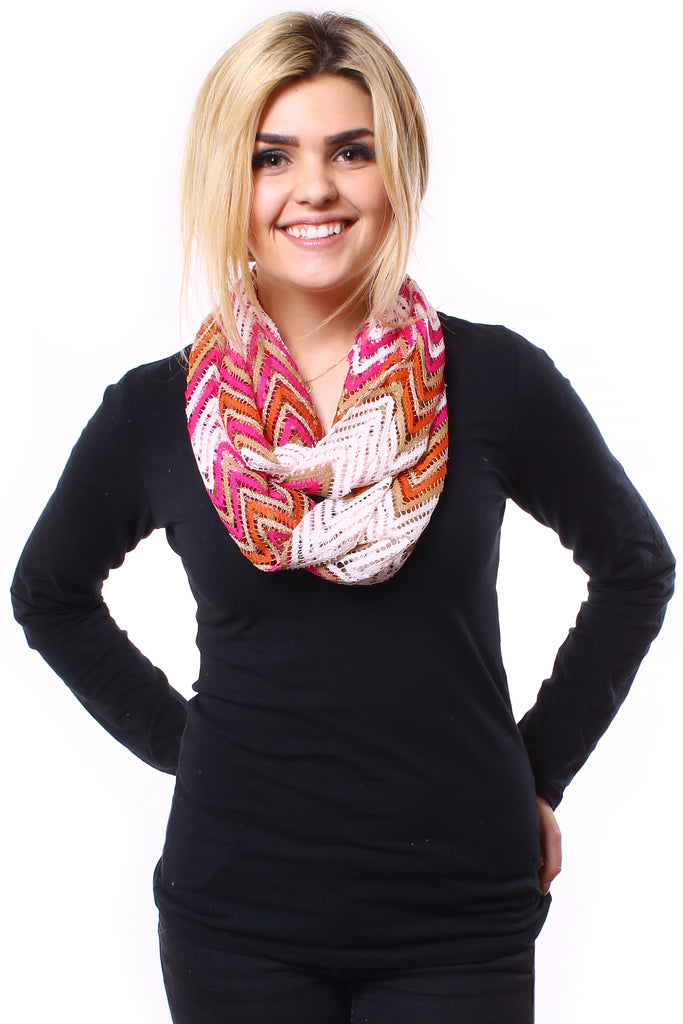 Layne Infinity Scarf Pink Multi With Model