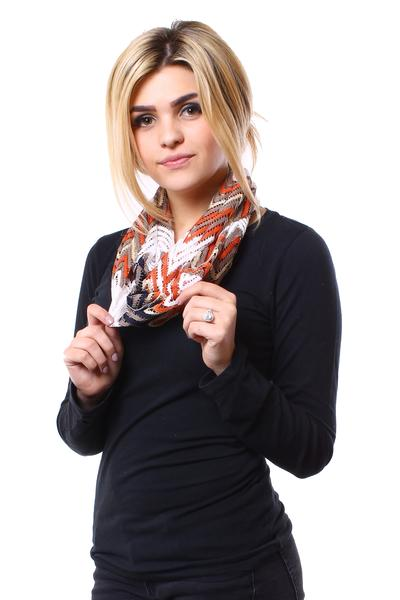 Layne Infinity Scarf Orange Multi With Model