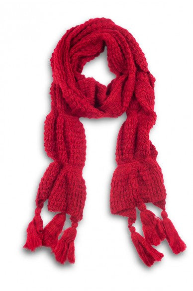Leona Chunky Solid Tassel Scarf Red