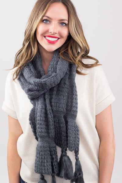 Leona Chunky Solid Tassel Scarf Grey With Model