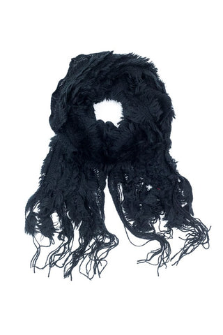 Lexie Furry Ruffle Scarf Black