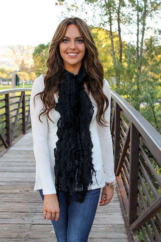 Lexie Furry Ruffle Scarf Black With Model