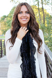 Lexie Furry Ruffle Scarf Black With Girl
