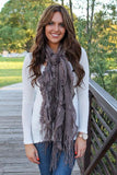 Lexie Furry Ruffle Scarf Brown With Model