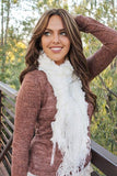 Lexie Furry Ruffle Scarf White With Model