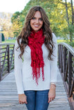 Lexie Furry Ruffle Scarf Red With Model