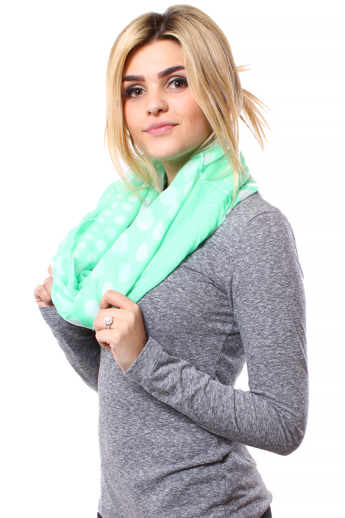 Lindsey Polka Dot Infinity Scarf Mint With Model