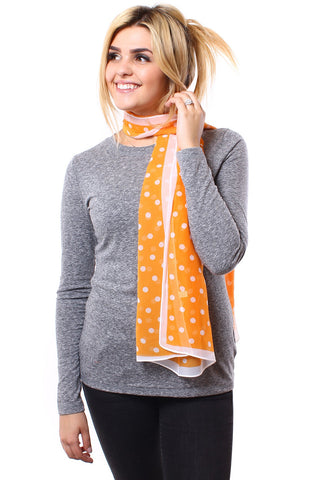 Lois Polka Dot Scarf Orange With Model