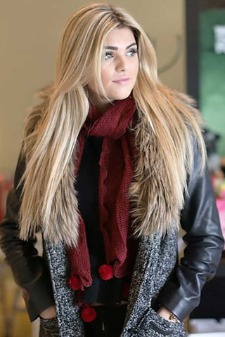 Lynda Pom Pom Scarf Burgundy With Model