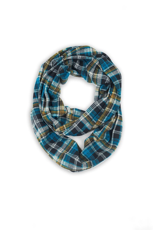Mabel Plaid Infinity Scarf Blue Multi