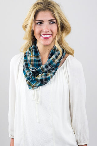Mabel Plaid Infinity Scarf Blue Multi With Model