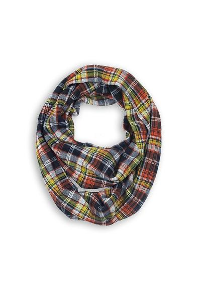 Mabel Plaid Infinity Scarf Orange Multi