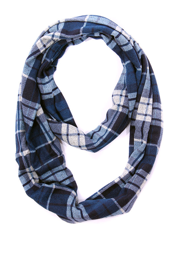 Mable Plaid Infinity Scarf Navy