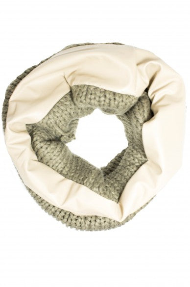 Marilyn Leather Circle Scarf Beige
