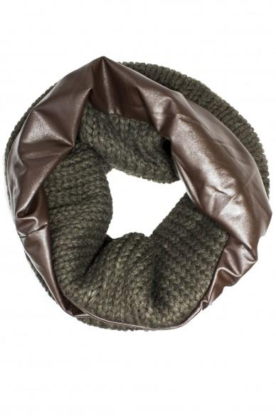 Marilyn Leather Circle Scarf Brown