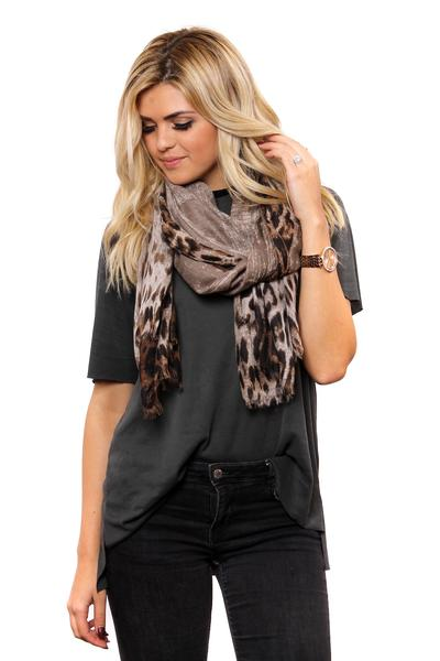 Markie Leopard Ombre Fringe Scarf Brown With Model