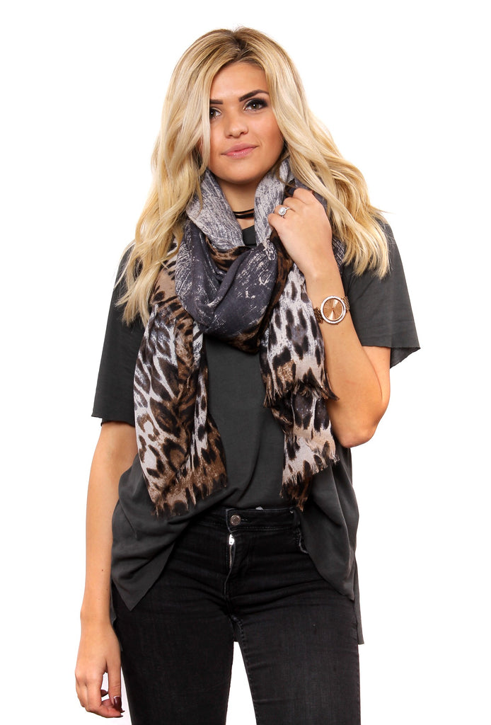 Markie Leopard Ombre Fringe Scarf Grey With Model