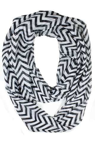 Mini Chevron Infinity Scarf Black
