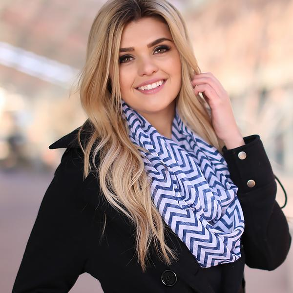 Mini Chevron Infinity Scarf Navy With Model