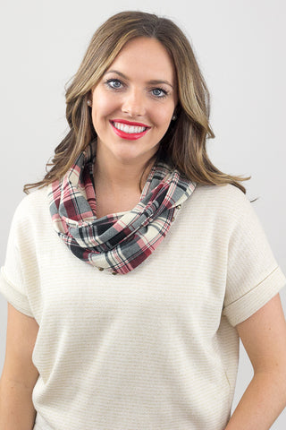 Patsy Plaid Infinity Scarf Red With Model