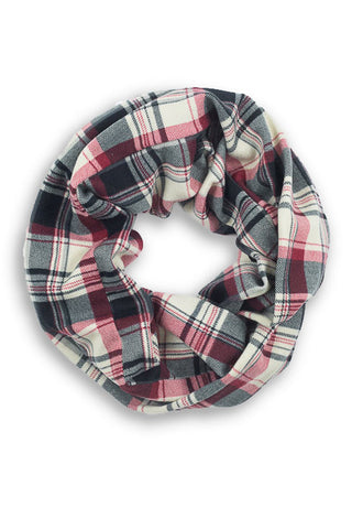Patsy Plaid Infinity Scarf Red