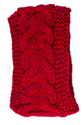 Phyllis Cable Knit Headband Red