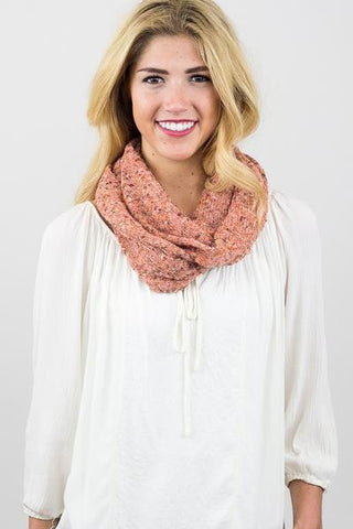 Piper Tweed Infinity Scarf Peach Multi With Model
