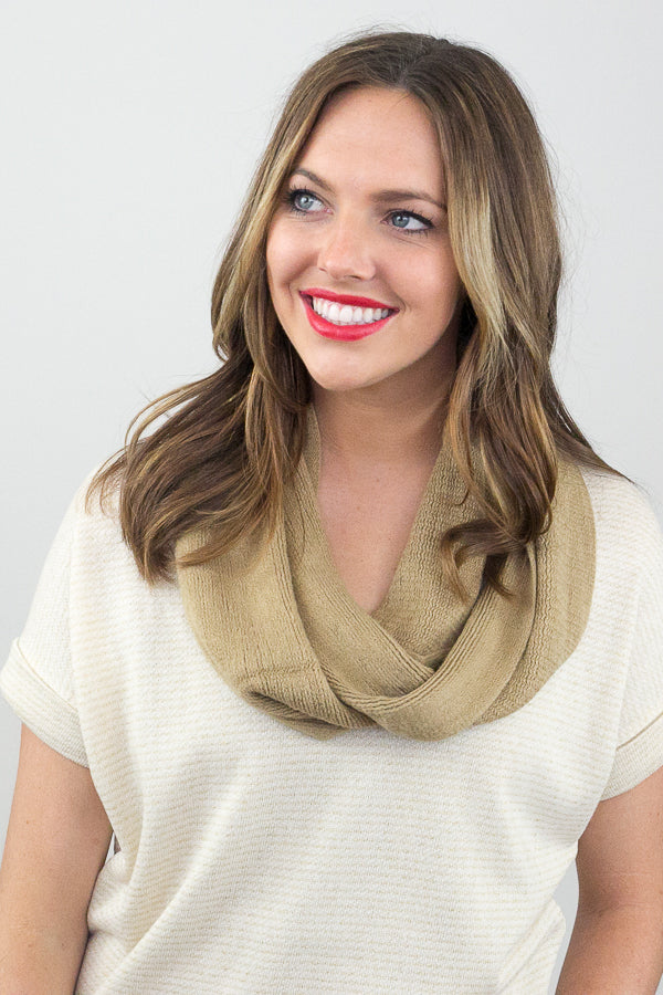Robin Skinny Knit Infinity Scarf Beige With Model