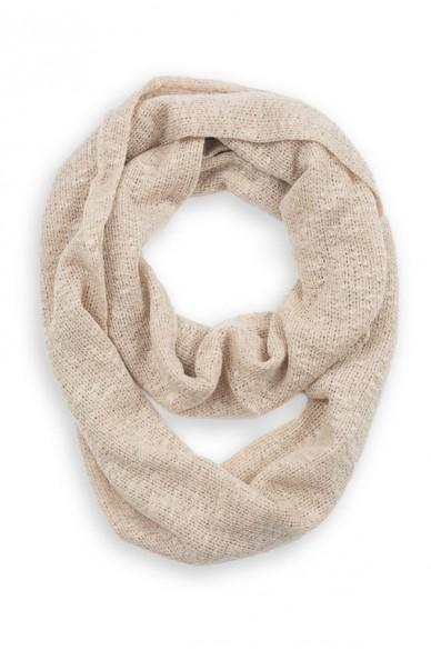 Rosemary Skinny Knit Infinity Scarf Light Beige