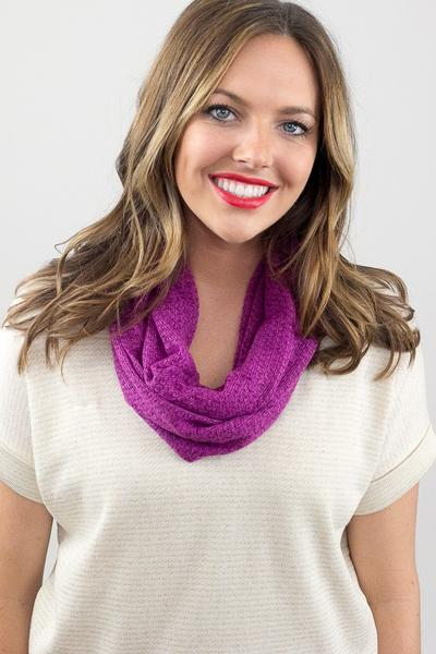 Rosemary Skinny Knit Infinity Scarf Plum With Model
