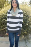 Rosemary Skinny Knit Infinity Scarf Sage With Model